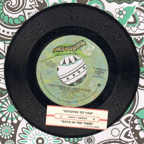 Simon, Carly & James Taylor - Devoted To You (ENCHANTING cover of Everly Brothers hit)/Bos In The Trees (with juke box label) - EX8/ - 45 rpm Records