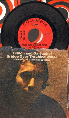 Simon & Garfunkel - Bridge Over Troubled Water (1966 GRAMMY WINNER BEST SONG)/Keep The Customer Satisfied (with picture sleeve) - EX8/VG7 - 45 rpm Records