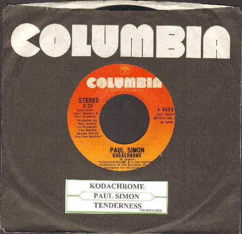 Simon, Paul - Kodachrome/Tenderness (with juke box label and Columbia company sleeve) - EX8/ - 45 rpm Records