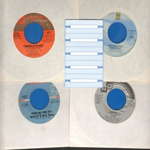Dawn, Mouth & McNeal, Linda Ronstadt, Frank Sinatra - Set of 4 first issue 45s with 5 blank juke box labels, exactly as pictured. NICE set of Easy Listening Hits for a juke box or to add to your collection. Shipped in plain white sleeves. - EX8/ - 45 rpm