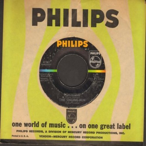Singing Nun - Dominique/Les Pieds Des Missionaires (less common title on B-side, with Philips company sleeve) - NM9/ - 45 rpm Records