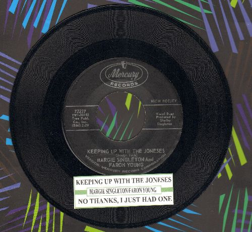 Singleton, Margie & Faron Young - Keeping Up With The Joneses/No Thanks, I Just Had One (with juke box label) - NM9/ - 45 rpm Records