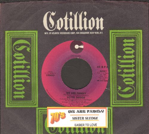 Sister Sledge - We Are Family (DANCE CLUB FAVORITE!)/Easier To Love (with juke box label and RARE Cotillion company sleeve) - NM9/ - 45 rpm Records