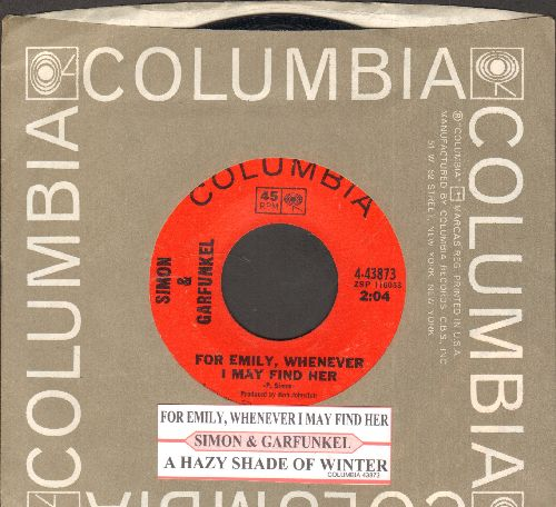 Simon & Garfunkel - For Emily, Whenever I May Find Her/A Hazy Shade of Winter (with juke box label and Columbia company sleeve) - NM9/ - 45 rpm Records