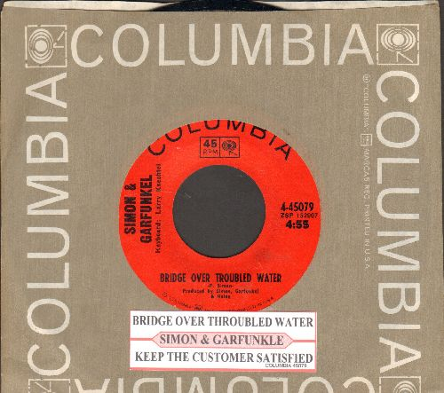 Simon & Garfunkel - Bridge Over Troubled Water (1966 GRAMMY WINNER BEST SONG)/Keep The Customer Satisfied (with juke box label and Columbia company sleeve) - NM9/ - 45 rpm Records