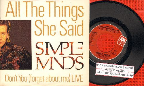 Simple Minds - Don't You (Forget About Me) LIVE/All The Things She Said (with picture sleeve and juke box label) - NM9/NM9 - 45 rpm Records