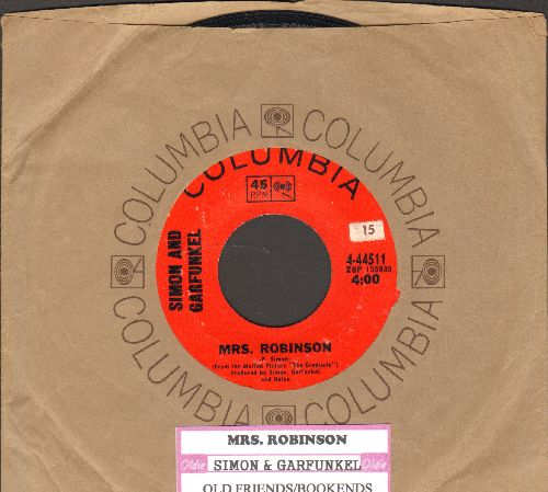 Simon & Garfunkel - Mrs. Robinson/Old Friends/Bookends (with Columbia company sleeve and juke box label) - NM9/ - 45 rpm Records