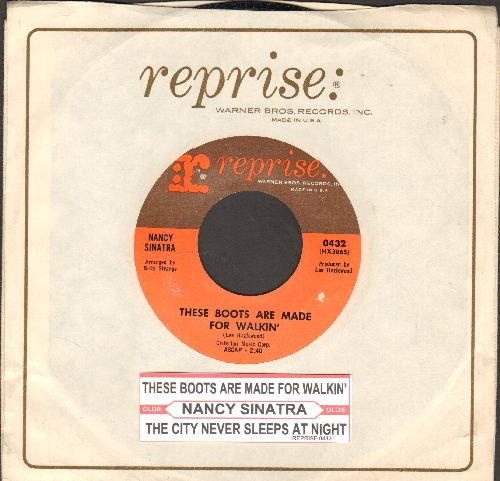 Sinatra, Nancy - These Boots Are Made For Walkin' (Juke Box Favorite!)/The City Never Sleeps At Night (with Reprise company sleeve and juke box label) - EX8/ - 45 rpm Records