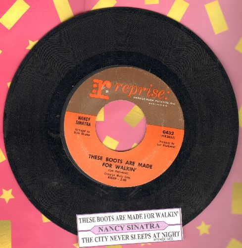 Sinatra, Nancy - These Boots Are Made For Walkin' (Juke Box Favorite!)/The City Never Sleeps At Night (with juke box label) - EX8/ - 45 rpm Records