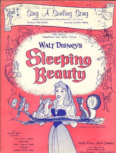 Disney - Sing A Smiling Song - SHEET MUSIC for the song featured in the 1959 Disney Film -Sleeping Beauty- BEAUTIFUL Cover Art!  (This is SHEET MUSIC, not any other kind of media!) - EX8/ - Sheet Music