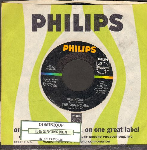 Singing Nun - Dominique/Entre Les Etoiles (US Pressing sung in French, with juke box label and vintage Philips company sleeve) - NM9/ - 45 rpm Records