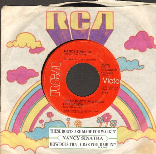 Sinatra, Nancy - These Boots Are Made For Walkin'/How Does That Grab You, Darlin'? (early double-hit re-issue with juke box label and RCA company sleeve) - VG7/ - 45 rpm Records