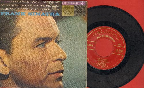 Sinatra, Frank - September Song/Among My Souvenirs/The Things We Did Last Summer/Oh, What It Seemed To Be 9vinyl EP record with picture cover) - EX8/VG6 - 45 rpm Records