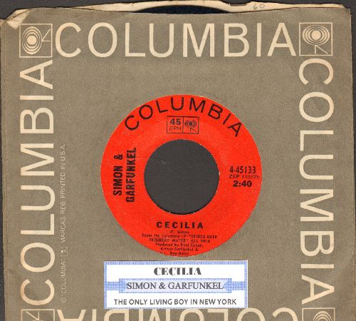 Simon & Garfunkel - Cecilia/The Only Living Boy In New York (with Columbia company sleeve) - EX8/ - 45 rpm Records