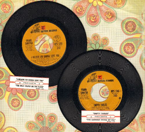Sinatra, Frank - 2 45 rpm records with juke box label for the price of one; includes hits I Believe I'm Gonna Love You and Empty Tables (GREAT for a juke box!) - EX8/ - 45 rpm Records