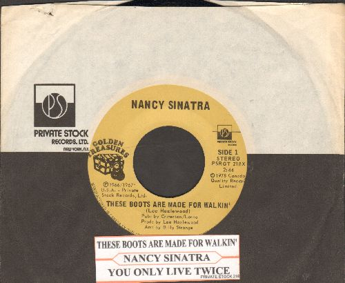 Sinatra, Nancy - These Boots Are Made For Walkin'/You Only Live Twice (double-hit re-issue with company sleeve and juke box label) - NM9/ - 45 rpm Records