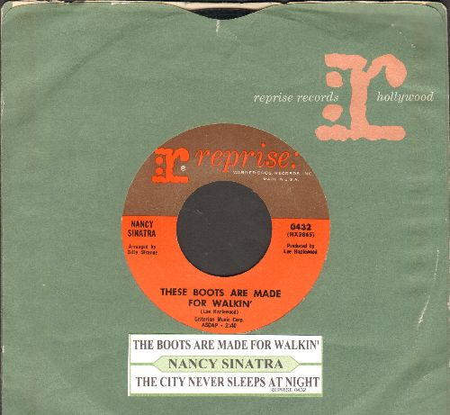 Sinatra, Nancy - These Boots Are Made For Walkin' (Juke Box Favorite!)/The City Never Sleeps At Night (with Reprise company sleeve and juke box label) - NM9/ - 45 rpm Records