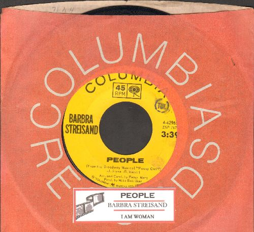 Streisand, Barbra - People/I Am Woman (with juke box label and Columbia company sleeve) - EX8/ - 45 rpm Records