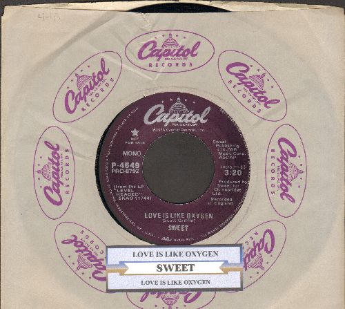 Sweet - Love Is Like Oxygen (RARE DJ advance pressing with 2 diferent MONO verions of hit, with juke box label and Capitol company sleeve) - NM9/ - 45 rpm Records