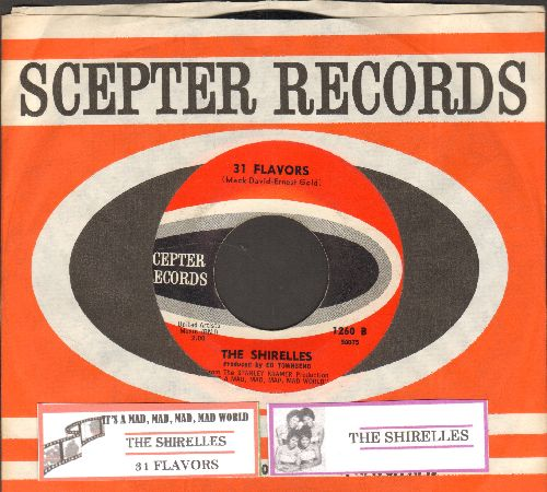 Shirelles - 31 Flavors/It's A Mad, Mad, Mad, Mad World (FANTASTIC vintage Girl-Sound 3-sider, featured in Comedy Classic film -It's A Mad, Mad, Mad, Mad World-, with juke box label and vintage Scepter company sleeve) - EX8/ - 45 rpm Records