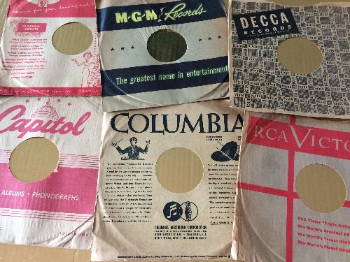 Company Sleeves - 10 inch vintage company sleeves, 6-Pack (exactly as pictured), Enhances and protects you collectable 10 inch 78 rpm record!  - /EX8 - Supplies