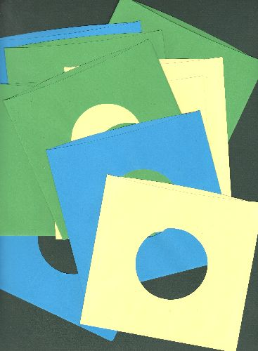 Color Paper Sleeves - 10 Color Paper Sleeves for 7 inch 45rpm and EP records, made from  durable heavy paper. Available in blue, yellow and green. Mix and match! - M10/ - Supplies