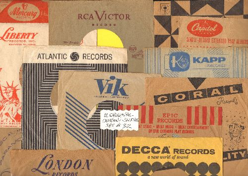 Company Sleeves - 12 Vintage Company Sleeves - Set #012-32 (exactly as pictured!) - Dress up your 7 inch vinyl records in original company sleeves of the 1950s & 60s. Good to excellent condition. - /EX8 - Supplies