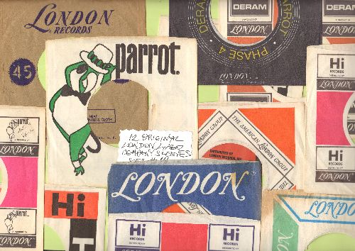 Company Sleeves - 12 Vintage London Label Company Sleeves - Set #012-14 (exactly as pictured!) - Dress up your 7 inch vinyl records in original company sleeves of the 1950s, 1960s & 70s. Excellent condition. - /EX8/EX8 - Supplies