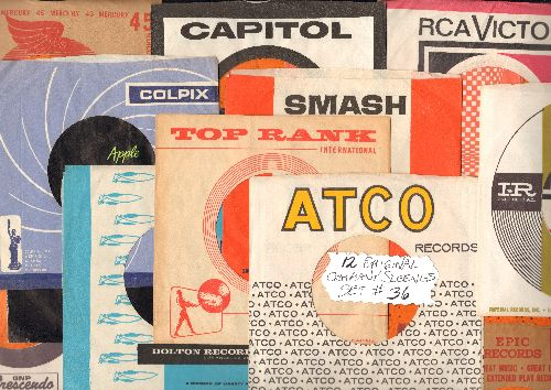 Company Sleeves - 12 Vintage Company Sleeves - Set #012-36 (exactly as pictured!) - Dress up your 7 inch vinyl records in original company sleeves of the 1950s & 60s. Good to excellent condition. - /EX8 - Supplies