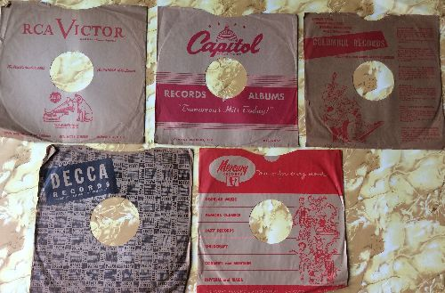 Company Sleeves - 5-Pack of Vintage 10 inch company sleeves (exactly as pictured). NICE way to enhance the appearance and value of your collectible 78 rpm records! - EX8/ - Supplies