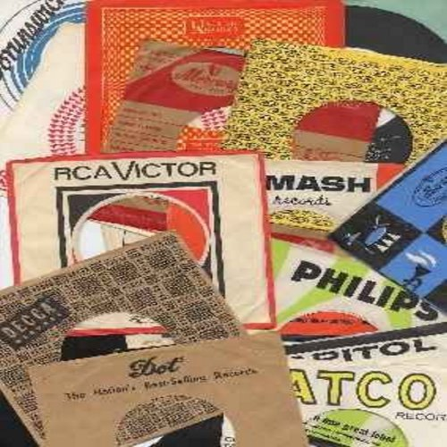 Company Sleeves - Original Company Sleeves - 1950s and 1960s original company sleeves for 45rpm records, large variety of available company names --  $1.77 each --  (subject to availabiltiy) - Specify desired company sleeve(s) -- we suggest you give alter