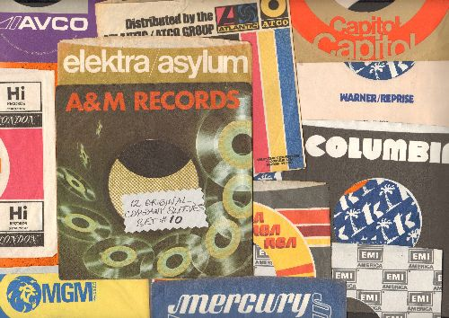 Company Sleeves - 12 Vintage Company Sleeves - Set #012-10 (exactly as pictured!) - Dress up your 7 inch vinyl records in original company sleeves, mostly from the 1970s. Good to excellent condition. - /EX8 - Supplies