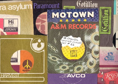 Company Sleeves - 12 Vintage Company Sleeves - Set #012-22 (exactly as pictured!) - Dress up your 7 inch vinyl records in original company sleeves of the 1960s & 70s. Good to excellent condition. - /EX8/EX8 - Supplies