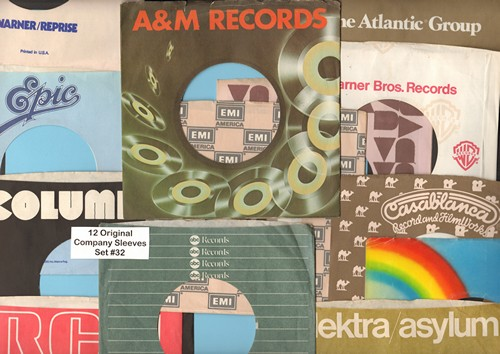Company Sleeves - 12 Vintage Company Sleeves - Set #012-32 (exactly as pictured!) - Dress up your 7 inch vinyl records in original company sleeves of the 1960s & 70s. Good to excellent condition. - /EX8 - Supplies