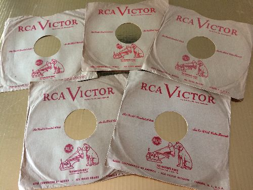 Company Sleeves - 10 inch vintage RCA company sleeves, 5-Pack (exactly as pictured), Enhances and protects you collectable 10 inch 78 rpm record!  - /EX8 - Supplies
