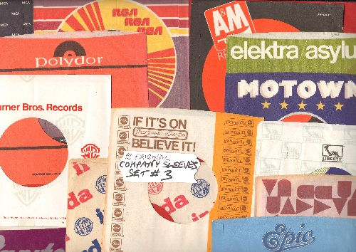 Company Sleeves - 12 Vintage Company Sleeves - Set #012-3 (exactly as pictured!) - Dress up your 7 inch vinyl records in original company sleeves of the 1970s & 80s. Good to excellent condition. - /EX8 - Supplies