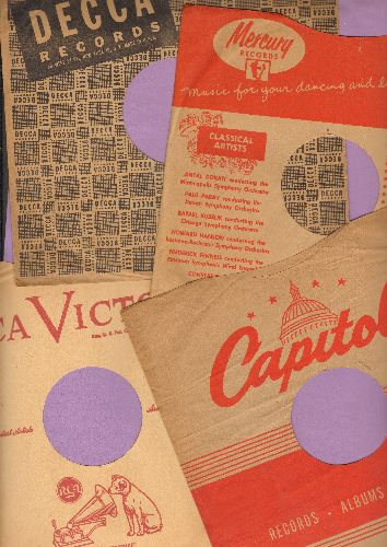 Company Sleeves - 4-Pack 10 inch vintage company sleeves (exactly as pictured), includes Capitol, Decca, Mercury and RCA. Enhances the appearance and value of your collectible 10 inch 78 rpm records! - /EX8 - Supplies