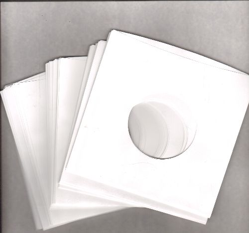 Paper Sleeves (white) - 5 Plain White Paper Sleeves, durable stregth, to protect and display your 7 inch 45rpm Singles or EP records. - M10/ - Supplies