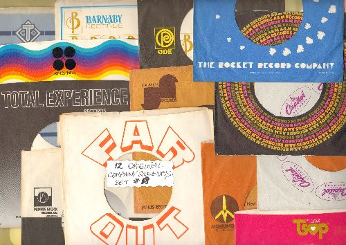 Company Sleeves - 12 Vintage Company Sleeves - Set #012-18 (exactly as pictured!) - Dress up your 7 inch vinyl records in these less common original company sleeves of the 1970s. Excellent condition. - /EX8 - Supplies