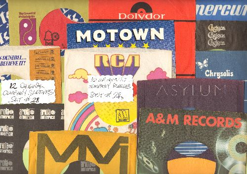Company Sleeves - 12 Vintage Company Sleeves - Set #012-29 (exactly as pictured!) - Dress up your 7 inch vinyl records in original company sleeves of the 1950s & 60s. Good to excellent condition. - /EX8 - Supplies