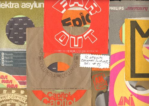 Company Sleeves - 12 Vintage Company Sleeves - Set #012-17 (exactly as pictured!) - Dress up your 7 inch vinyl records in these re-issue company sleeves of the 1950s through 80s. Good to excellent condition. - EX8/EX8 - Supplies