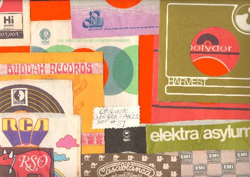 Company Sleeves - 12 Vintage Company Sleeves - Set #012-28 (exactly as pictured!) - Dress up your 7 inch vinyl records in original company sleeves of the 1960s & 70s. Good to excellent condition. - /EX8/EX8 - Supplies
