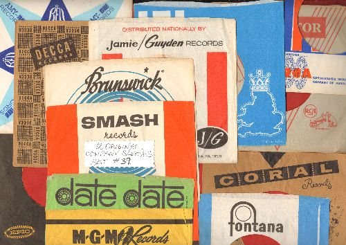 Company Sleeves - 12 Vintage Company Sleeves - Set #012-39 (exactly as pictured!) - Dress up your 7 inch vinyl records in these less common original company sleeves of the 19650s & 1960s. Excellent condition. - /EX8 - Supplies