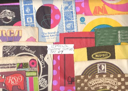 Company Sleeves - 12 Vintage Company Sleeves - Set #012-7 (exactly as pictured!) - Dress up your 7 inch vinyl records in original company sleeves of the 1960s & 70s. Good to excellent condition. - /EX8 - Supplies