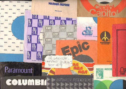 Company Sleeves - 12 Vintage Company Sleeves - Set #012-9 (exactly as pictured!) - Dress up your 7 inch vinyl records in these re-issue company sleeves of the 1970s through 80s. Good to excellent condition. - EX8/ - Supplies