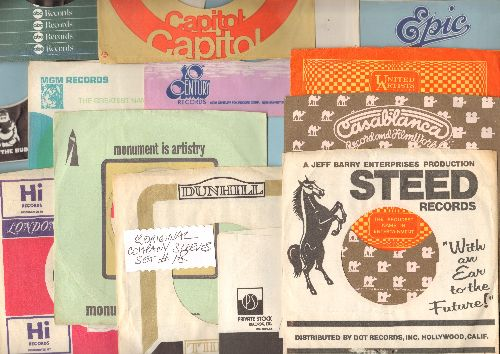 Company Sleeves - 12 Vintage Company Sleeves - Set #012-18 (exactly as pictured!) - Dress up your 7 inch vinyl records in these re-issue company sleeves of the 1960s through 80s. Good to excellent condition. - EX8/ - Supplies