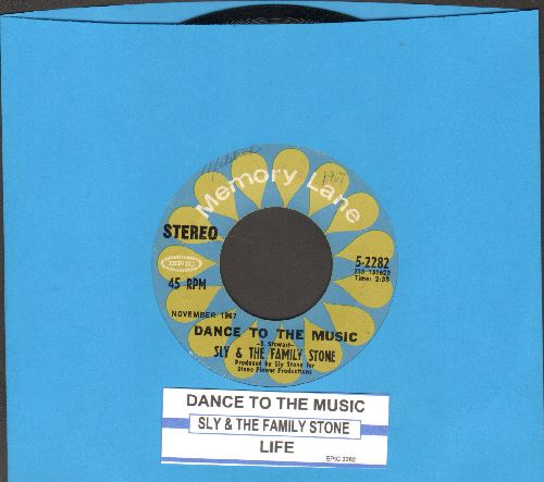 Sly & The Family Stone - Dance To The Music (featured in Disney film -Shrek-)/Life (double-hit re-issue with juke box label) - EX8/ - 45 rpm Records