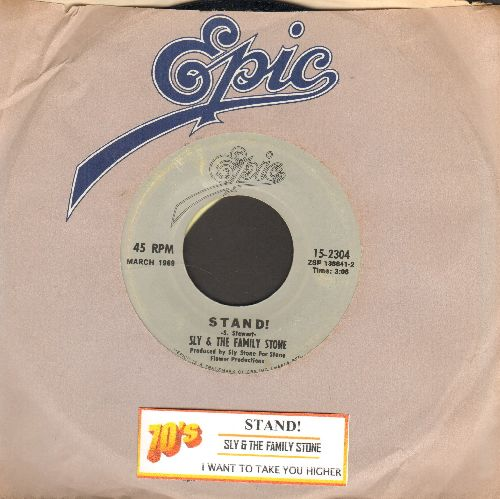 Sly & The Family Stone - Stand!/I Want To Take You Higher (re-issue with juke box label and company sleeve) - VG7/ - 45 rpm Records