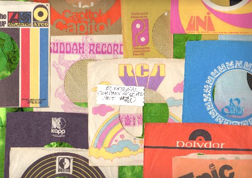 Company Sleeves - 12 Vintage Company Sleeves - Set #012-21 (exactly as pictured!) - Dress up your 7 inch vinyl records in original company sleeves of the 1970s & 80s. Good to excellent condition. - /EX8 - Supplies