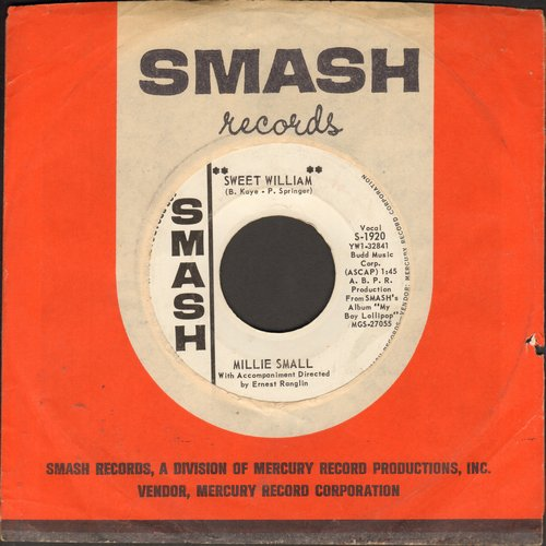 Small, Millie - Sweet William/What Am I Living For (DJ advance pressing with Smash company sleeve)  - VG7/ - 45 rpm Records